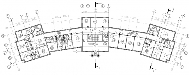 Plan of the second floor of the parish house © Eugene Gerasimov and Partners
