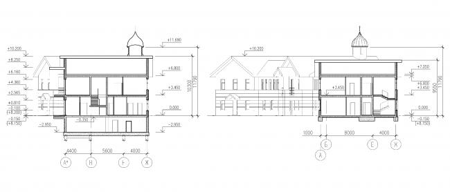 Parish house. Section 1-1, 2-2 © Eugene Gerasimov and Partners