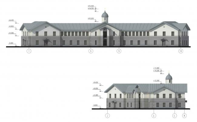 Parish house. Facade in the axes 1-14 © Eugene Gerasimov and Partners