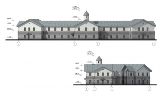 Parish house. Facade in the axes 14-1 © Eugene Gerasimov and Partners