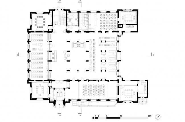 План цокольного этажа. Erasmus University College. © (designed by) Erick van Egeraat