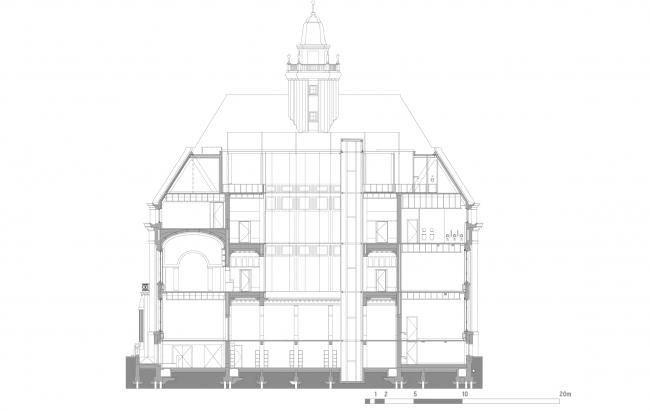 Разрез по линии A. Erasmus University College. © (designed by) Erick van Egeraat