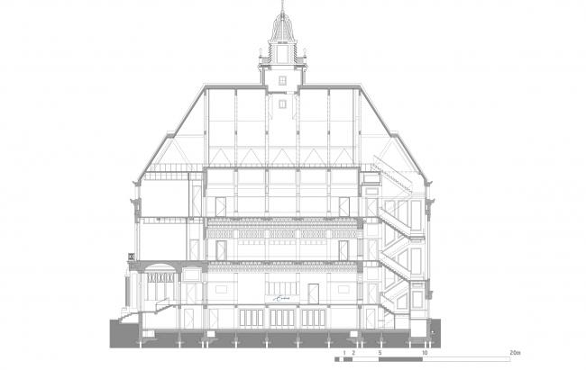 Разрез по линии C. Erasmus University College. © (designed by) Erick van Egeraat