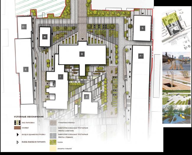 Архитектурная и градостроительная концепция реконструкции и реновации территории фабрики «Саратов мука». Схема благоустройства территории © Т+Т Architects