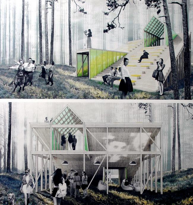 Трибуны в парке. Работы студентов – участников «Архитектурного практикума» под руководством Оскара Мамлеева