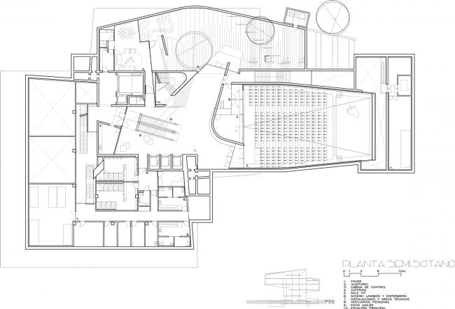 Культурный центр CaixaForum в Сарагосе | План цокольного этажа © Estudio Carme Pinós