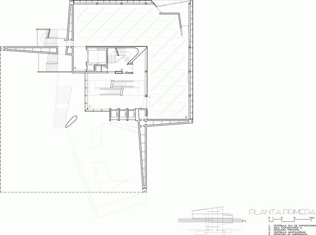 Культурный центр CaixaForum в Сарагосе | План 2-го этажа © Estudio Carme Pinós