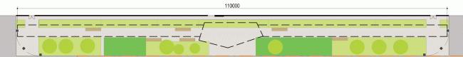 Променад вдоль парковки.  Концепция благоустройства многофункционального офисно-делового центра «Савеловский Сити» © Т+Т Architects
