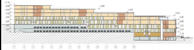 Архитектурная и градостроительная концепция реконструкции и реновации территории фабрики «Саратов мука». Корпус А1. Схема разреза 1-1 © Т+Т Architects