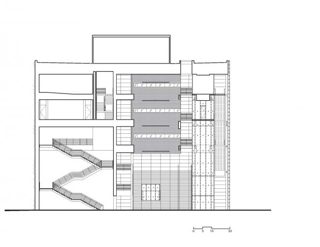 Разрез. Бизнес-школа Ратгерс © TEN architectos
