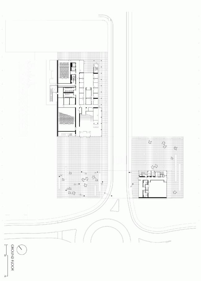 Первый этаж. План. Бизнес-школа Ратгерс © TEN architectos