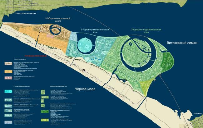 Схема комплекса  «Золотая миля» в Анапе © Архитектурное бюро «А.Лен»