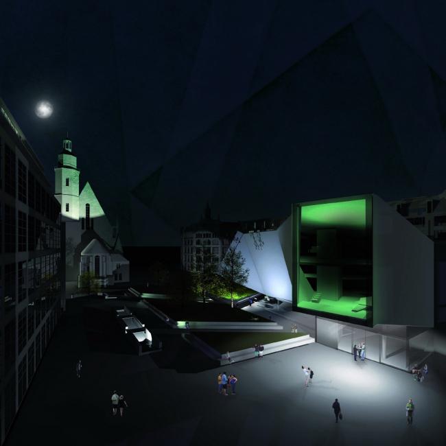Визуализация. Проект «Медиацентр Тригон. Медиа-Хаб в историческом центре Лейпцига». © Автор: Килиан Мёлльманн
