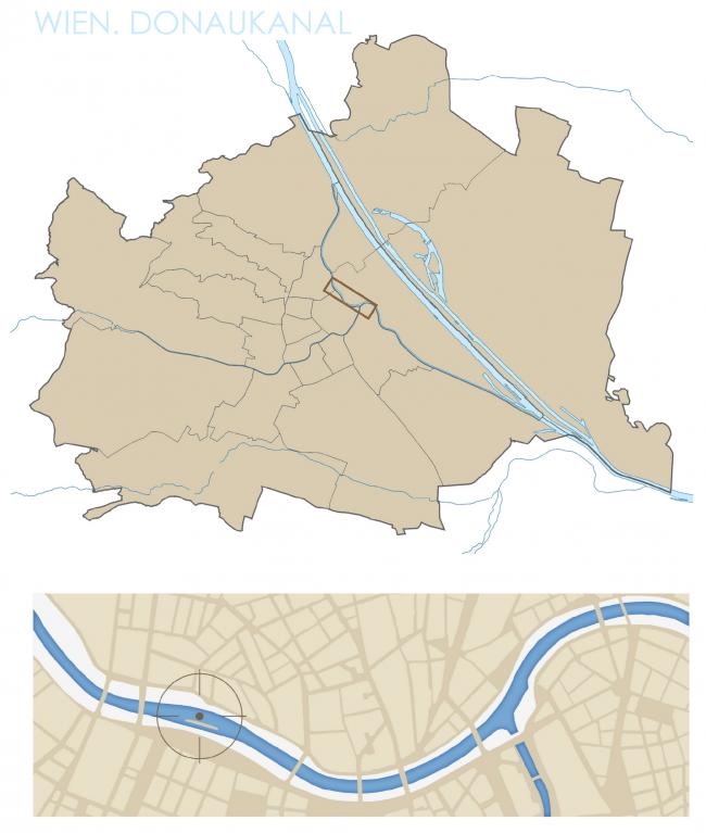 Местоположение. Проект «Волна Дуная. Административное здание для творческих профессий на Дунайском канале, Вена». © Автор: Надежда Повтарева