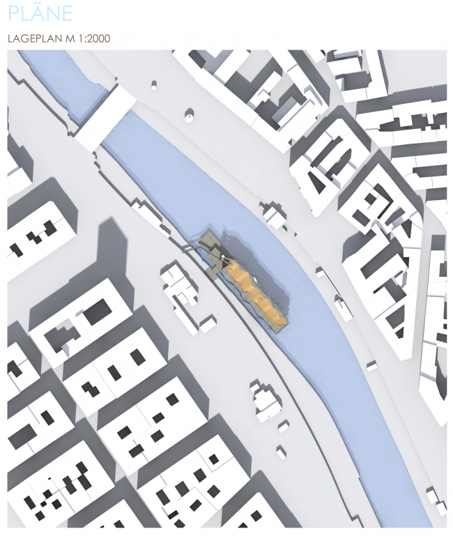 План местности. Проект «Волна Дуная. Административное здание для творческих профессий на Дунайском канале, Вена». © Автор: Надежда Повтарева