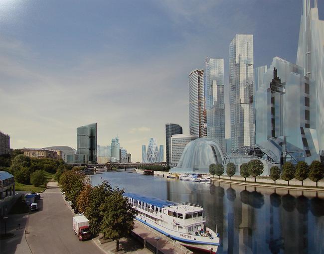 Кутузовский проезд, вл. 16. Kikutake architects. Миракс-групп. Справа - Сити, слева - Миракс-плаза, в центре - дом, спроектированный Кикутаке