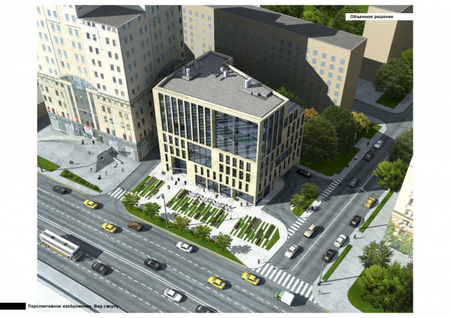 Парковочно-офисный комплекс с рестораном на Краснопресненской набережной, вл. 6.  Вид сверху.  АПБ «Резерв»