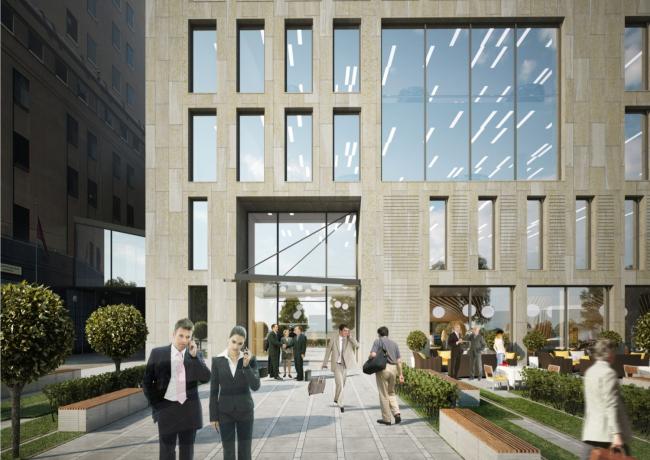 Парковочно-офисный комплекс с рестораном на Краснопресненской набережной, вл. 6.  Центральный вход. АПБ «Резерв»