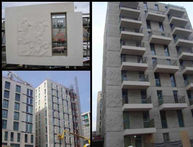 Олимпийская деревня в Лондоне. Сборные ж/б элементы из архитектурного бетона. Из презентации Сергея Кузнецова
