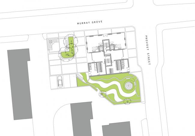 Жилой дом Stadhaus в Лондоне. Генплан и план 1-го этажа © Waugh Thistleton Architects