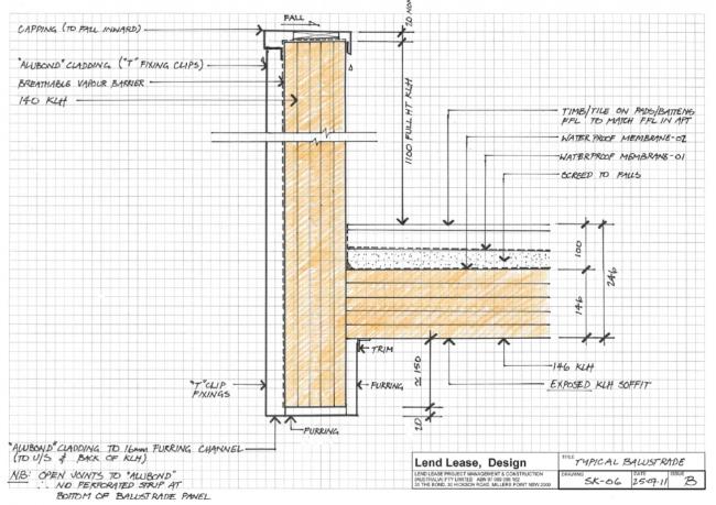 Жилой дом Forté в Мельбурне. Конструкция  парапета © Lend Lease