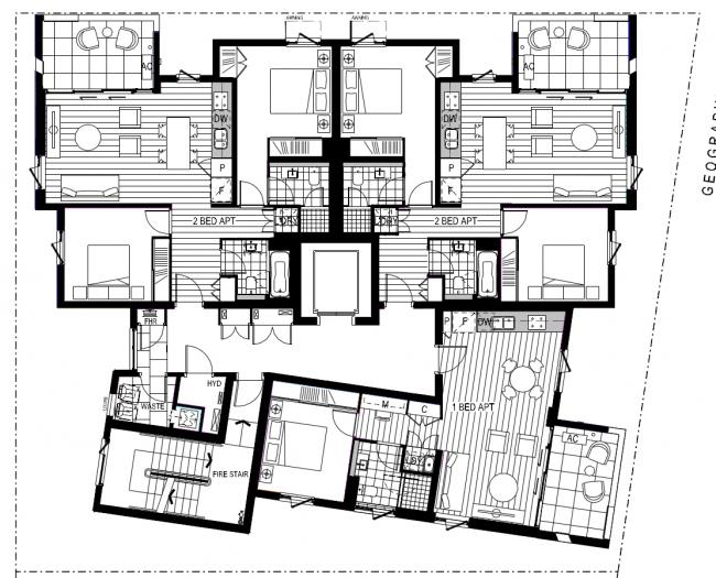 Жилой дом Forté в Мельбурне. План типового этажа © Lend Lease