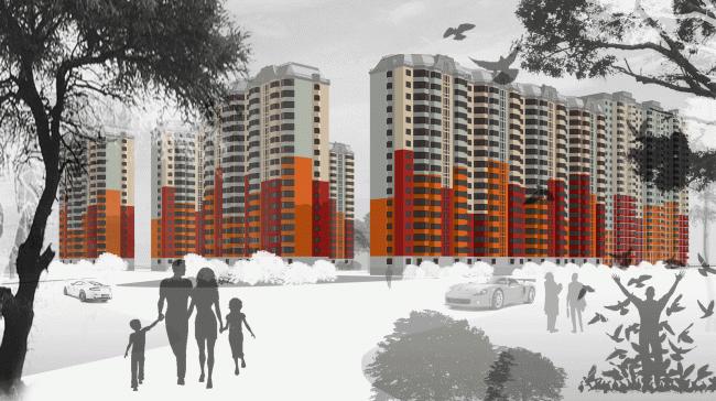 Концепция решения фасадов для жилого комплекса Ведис-групп © Архитектурная мастерская Сергея Эстрина
