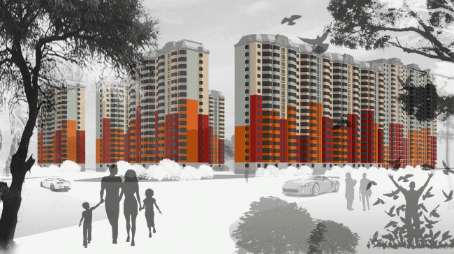 Facade proposal for a Vedis Group residential complex © Sergey Estrin Architects