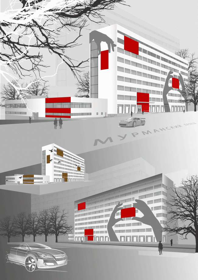 Lanit - facade proposal in the Murmansky Driveway 2011 © Sergey Estrin Architects