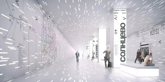 Проект станции метро «Солнцево» © Wall
