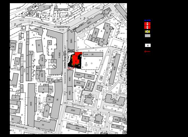 Схема ситуационного плана. Гостиница с апартаментами и подземной автостоянкой в Электрическом переулке, 2014 © Мастерская архитектора Бавыкина