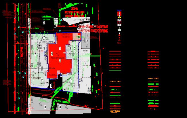 Схема планировочной организации земельного участка, совмещенная со схемой транспортной организации территории. Гостиница с апартаментами и подземной автостоянкой в Электрическом переулке, 2014 © Мастерская архитектора Бавыкина