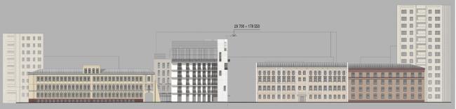 Схема развертки фасадов по Электрическому переулку. Гостиница с апартаментами и подземной автостоянкой в Электрическом переулке, 2014 © Мастерская архитектора Бавыкина