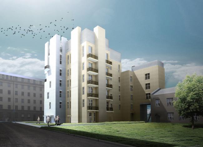 Гостиница с апартаментами и подземной автостоянкой в Электрическом переулке, 2014 © Мастерская архитектора Бавыкина