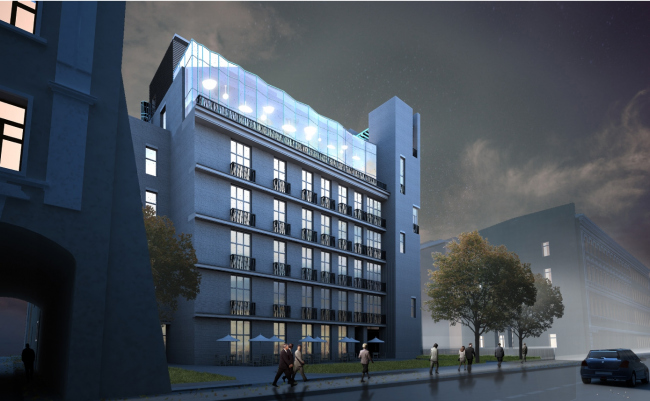 The hotel with apartments and an underground parking garage in the Elektrichesky lane. Project, 2014
