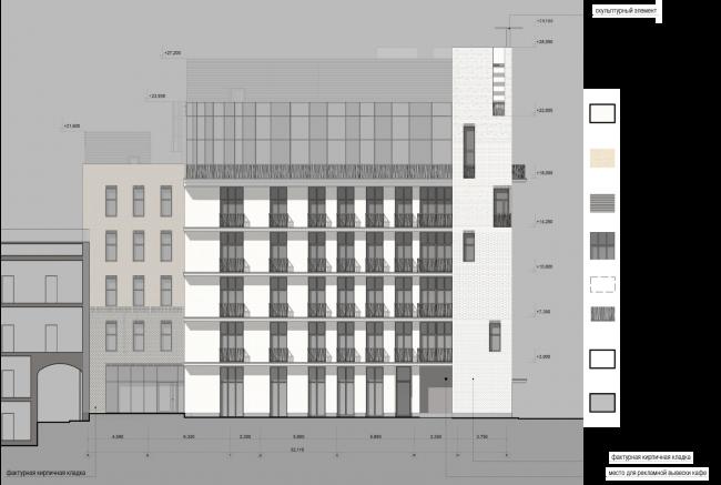 Схема фасада в осях А–К. Гостиница с апартаментами и подземной автостоянкой в Электрическом переулке, 2014 © Мастерская архитектора Бавыкина
