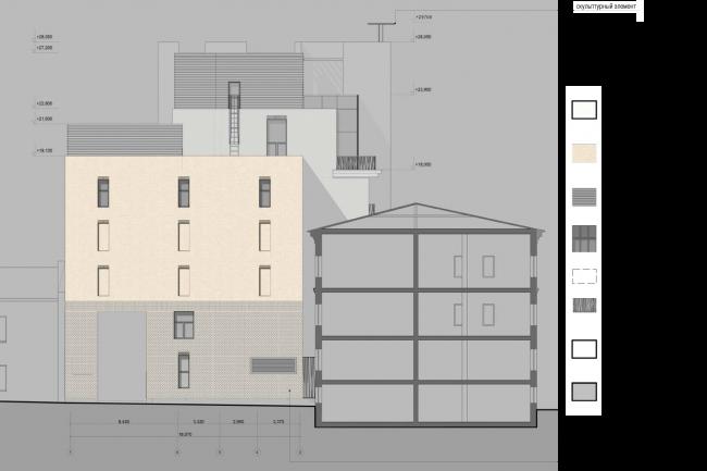 Схема фасада в осях 7–1. Гостиница с апартаментами и подземной автостоянкой в Электрическом переулке, 2014 © Мастерская архитектора Бавыкина