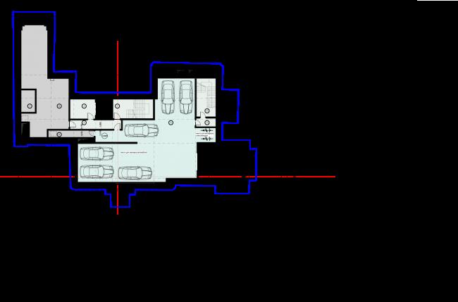 Схема плана -1 этажа. Гостиница с апартаментами и подземной автостоянкой в Электрическом переулке, 2014 © Мастерская архитектора Бавыкина