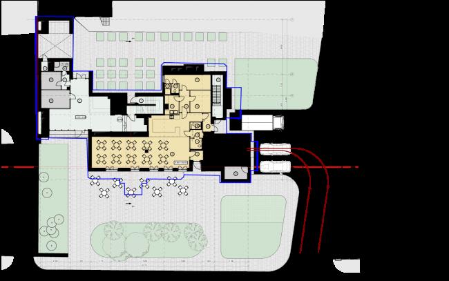Схема плана 1 этажа. Гостиница с апартаментами и подземной автостоянкой в Электрическом переулке, 2014 © Мастерская архитектора Бавыкина