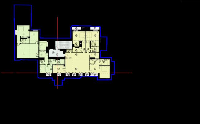 Схема плана 2 этажа. Гостиница с апартаментами и подземной автостоянкой в Электрическом переулке, 2014 © Мастерская архитектора Бавыкина