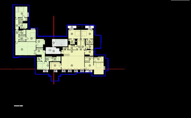 Схема плана 3 этажа. Гостиница с апартаментами и подземной автостоянкой в Электрическом переулке, 2014 © Мастерская архитектора Бавыкина