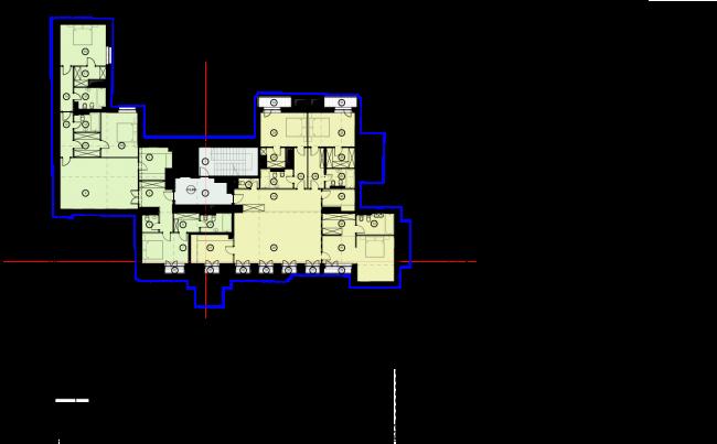Схема плана 4 этажа. Гостиница с апартаментами и подземной автостоянкой в Электрическом переулке, 2014 © Мастерская архитектора Бавыкина