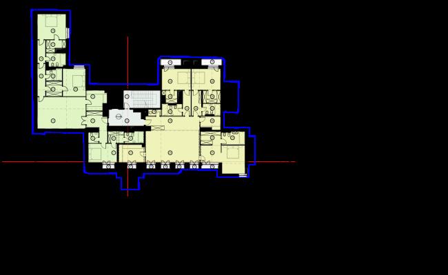 Схема плана 5 этажа. Гостиница с апартаментами и подземной автостоянкой в Электрическом переулке, 2014 © Мастерская архитектора Бавыкина