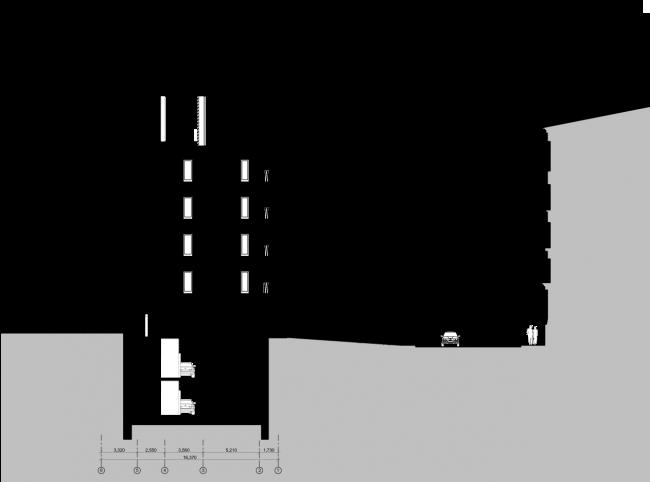Схема разреза 1-1. Гостиница с апартаментами и подземной автостоянкой в Электрическом переулке, 2014 © Мастерская архитектора Бавыкина