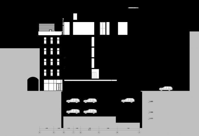 Схема разреза 2-2. Гостиница с апартаментами и подземной автостоянкой в Электрическом переулке, 2014 © Мастерская архитектора Бавыкина