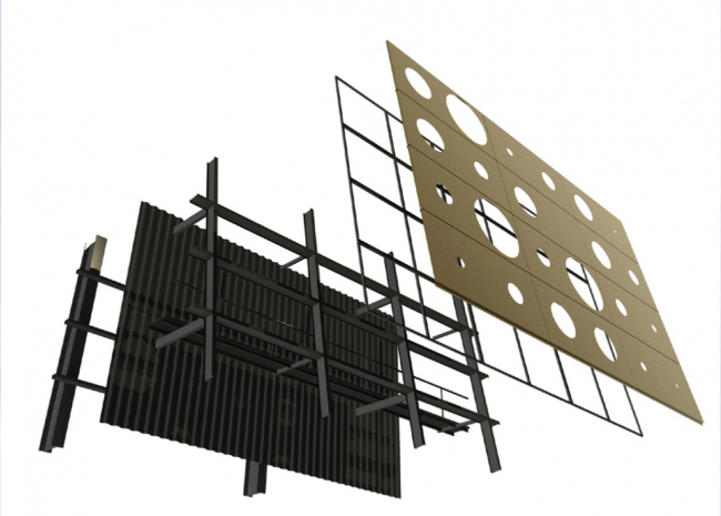 Схема устройства внешней оболочки здания. Мусоросжигательный завод в Роскилле © Designed by Erick van Egeraat