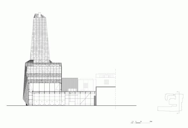 Сечение F-F. Мусоросжигательный завод в Роскилле © Designed by Erick van Egeraat