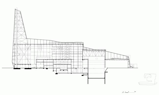 Сечение А-А. Мусоросжигательный завод в Роскилле © Designed by Erick van Egeraat