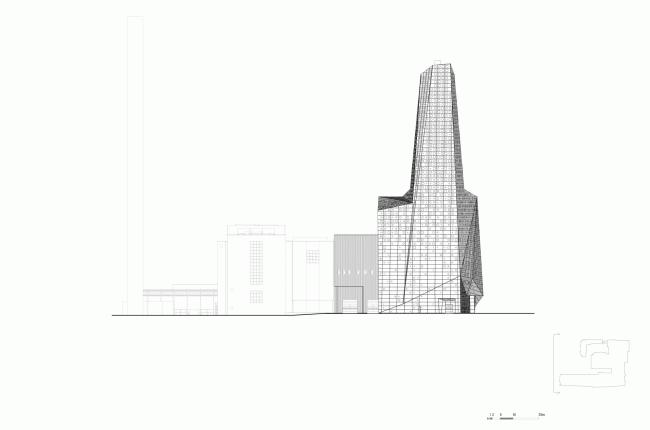 Западный фасад. Мусоросжигательный завод в Роскилле © Designed by Erick van Egeraat