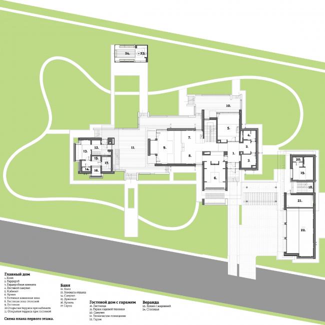Подмосковный загородный дом. План 1-го этажа©Четвертое Измерение